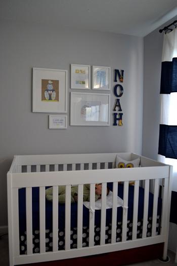 Nursery Progress Art Collage Over Crib Suddenly Inspired