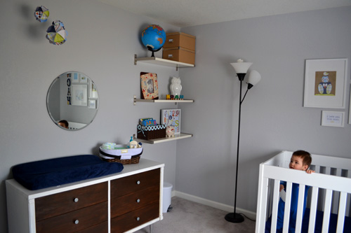 baby boy nursery, mid century dresser, ikea eckby shelves, scrapbook paper mobile, globe owl framed art, gray walls