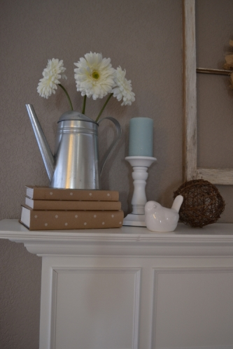 mantel watering can zinnias white candlestick ceramic bird wicker sphere