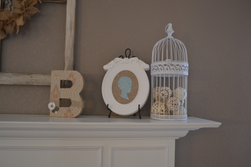 mantel bird cage and diy silhouette