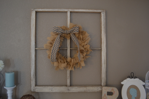 burlap rag wreath on old window