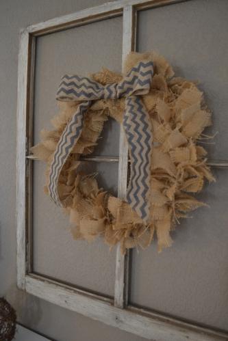 burlap rag wreath on old window 2